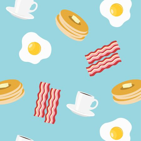 Vector Illustration Breakfast Themed Seamless Pattern Background 向量圖像