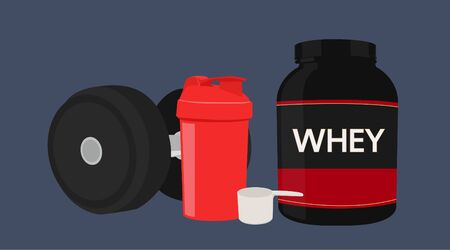 Vector Illustration of Protein and Dumbbell Illustration