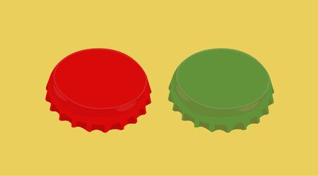 Vector Isolated Illustration of a Red and a Green Bottle Tops