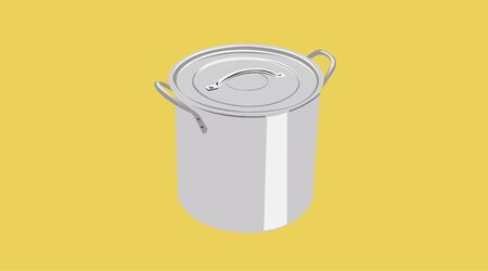 Isolated Vector Illustration of a Steel Pot