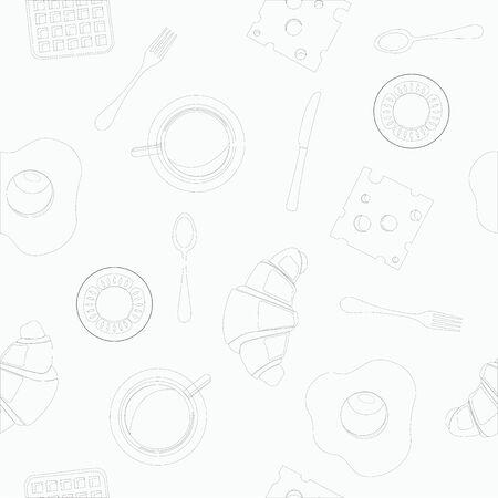 Seamless Pattern Vector Background Breakfast Themed