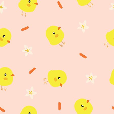Vector Seamless Pattern Background with Little Chickens and Flowers