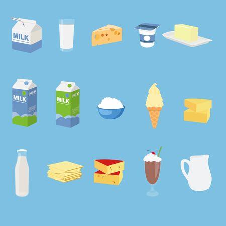 Vector Milk Related Icon Set Ilustração