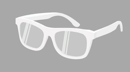Vector Isolated Illustration of White Frame Glasses