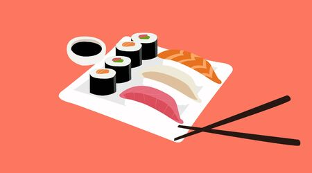Vector Isolated Illustration aa Plate of Sushi