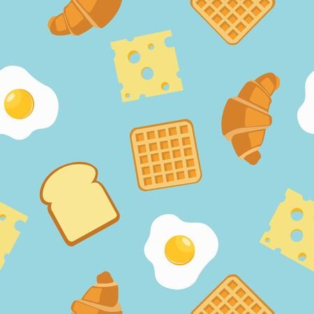 Breakfast Seamless Pattern Background or Wallpaper