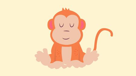 Childish Monkey Vector Isolated Illustration 矢量图像