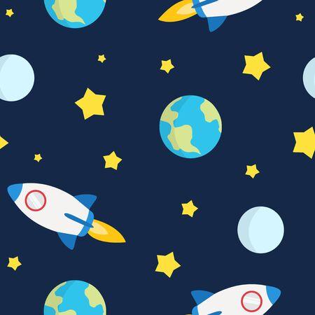 Space Seamless Pattern Childish Style, mit Raketen, Erde, Mond und Sternen Vektorgrafik