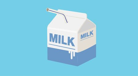 Vector Isolated Small Milk Box or Carton with a Straw