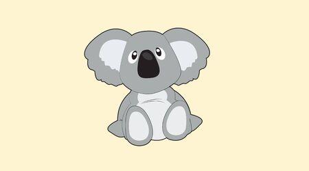 Vector Isolated Illustration of a Cartoon Childish Style Koala Ilustração