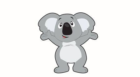 Isolates Illustration of a Happy Koala on a White Background