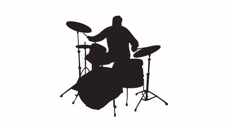 Vector Isolated Silhouette of e Drummer Ilustrace