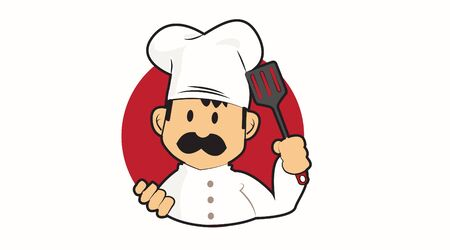 Vector Isolated Illustration of a Chef with Mustache and a Kitchen Utensil. Icon or Logo. Çizim