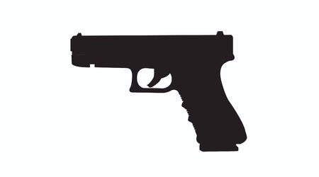 Vector Isolated Black and White Illustration of a Gun. Silhouette