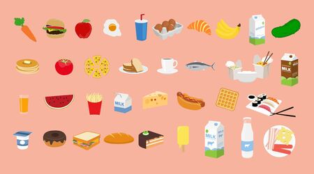 Vector Isolated Set of Food Icons
