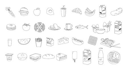 Vector Isolated Set of Food Icons in Black and White. Thin lines Illustration