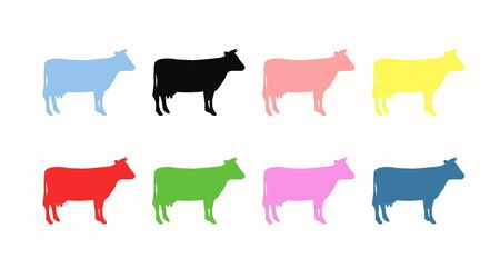 Set of Different Color Cow Icon Illustration