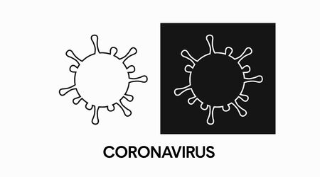 Vector Isolated Icon of a Virus. Coronavirus Illustration, black and white Vektorové ilustrace