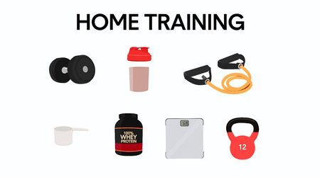 Home Training Icon Set. Home Workout Items