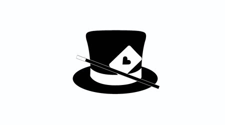 Vector Isolated Magician or Magic Logo. Black and White Icon, with a Magician Hat Çizim