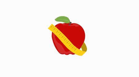 Vector Isolated Illustration of an Apple with Tape Measure Vettoriali