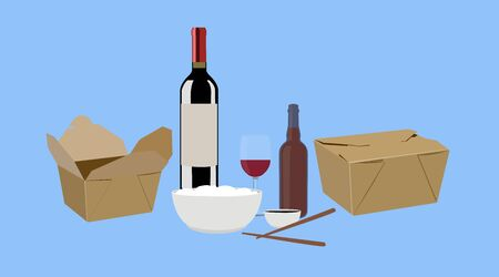 Vector Isolated Illustration of Food Take Away, with Wine and Beer