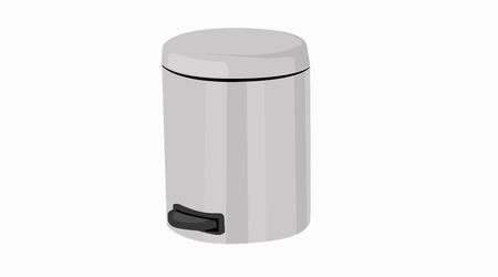Vector Isolated Illustration of a Bathroom Garbage Can