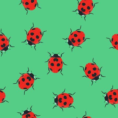 Ladybug Seamless Pattern Background or Wallpaper Ilustrace