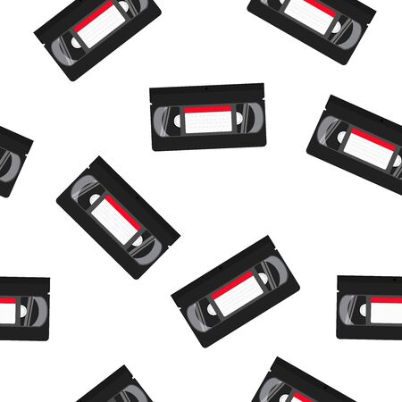 Vector Isolated VHS Tapes Seamless Pattern or Wallpaper