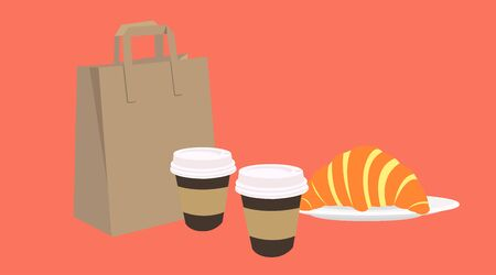Vector Isolated Illustration of a Coffee Take Away Set, with a paper bag, two paper coffee cups and a croissant