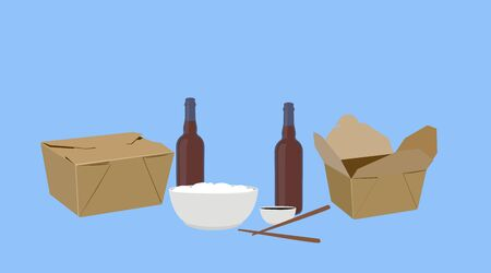 Vector Isolated Illustration of Food Take Away, with Beer