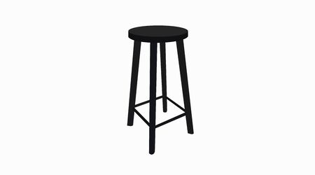 Vector Isolated Illustration of a Black Wooden Stool Vectores