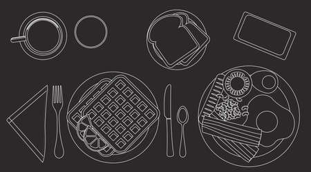 Vector Black and white Illustration of a Breakfast