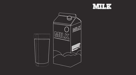 Vector Black and White Isolated Illustration of a Milk Box and a Glass of Milk