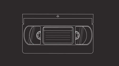 Vector Isolated Black and White Illustration of a Videocassette. VHS Tape