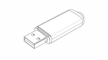 Vector Isolated Black and White Illustration of a USB device