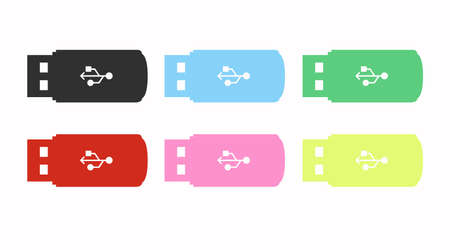 Vector Isolated Different Color Set of Flat USB device icon or illustration