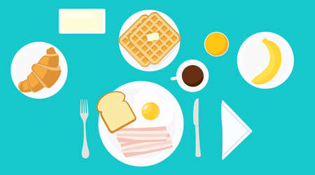 Vector isolated illustration of a breakfast with fried egg, bacon, bread, toast, croissant, banana, waffles, butter, coffee, juice, fork, knife, plates.