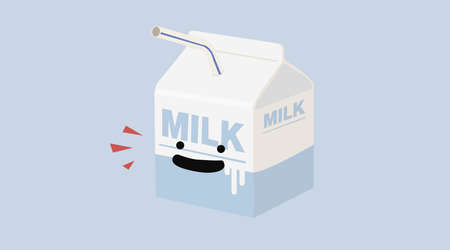 Vector isolated milk box with a smile