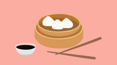 Vector Isolated Illustratiuon of Dim Sum, with chopsticks and sauce