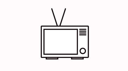 Vector Isolated Black and White TV Icon of Sign Ilustrace