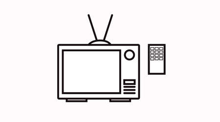 Vector Isolated Black and White TV Icon with Remote Control