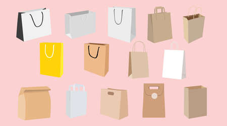 Vector Isolated Set of Shopping bags and Paper Bags, Different Shapes and Colors