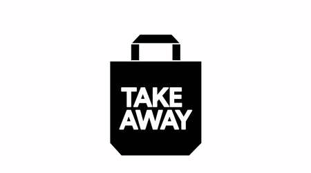 Vector Isolated Black and White Take Away Bag Icon or Sign