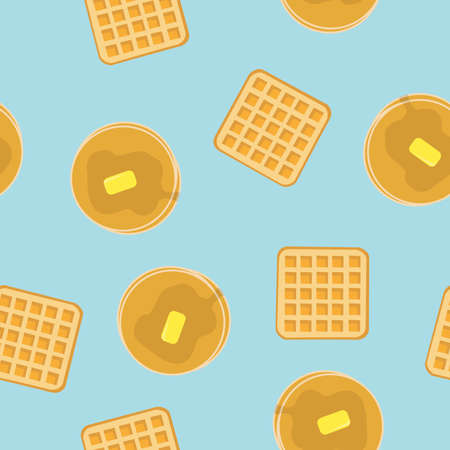 Vector Isolated Waffles and Pancakes Blue Pattern