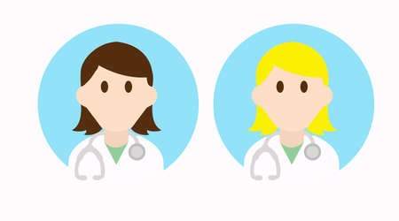 Two Different Vector Isolated Female Doctor Icon or Sign