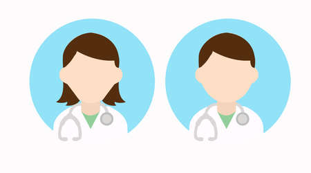 Vector Isolated Male and Female Doctor Set of Icons Çizim