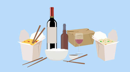 Vector Isolated Illustration of Food Take Away, with Wine and Beer  イラスト・ベクター素材