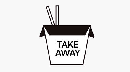 Vector Isolated Illustration of a Black and White Take Away Asian Food Box. Take Away Icon