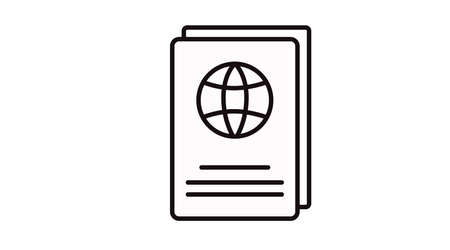 Passport Icon. Vector Isolated Black and White Illustration of a Passport.
